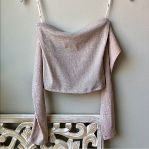 Champagne Pink Sparkly Off the Shoulder Top
